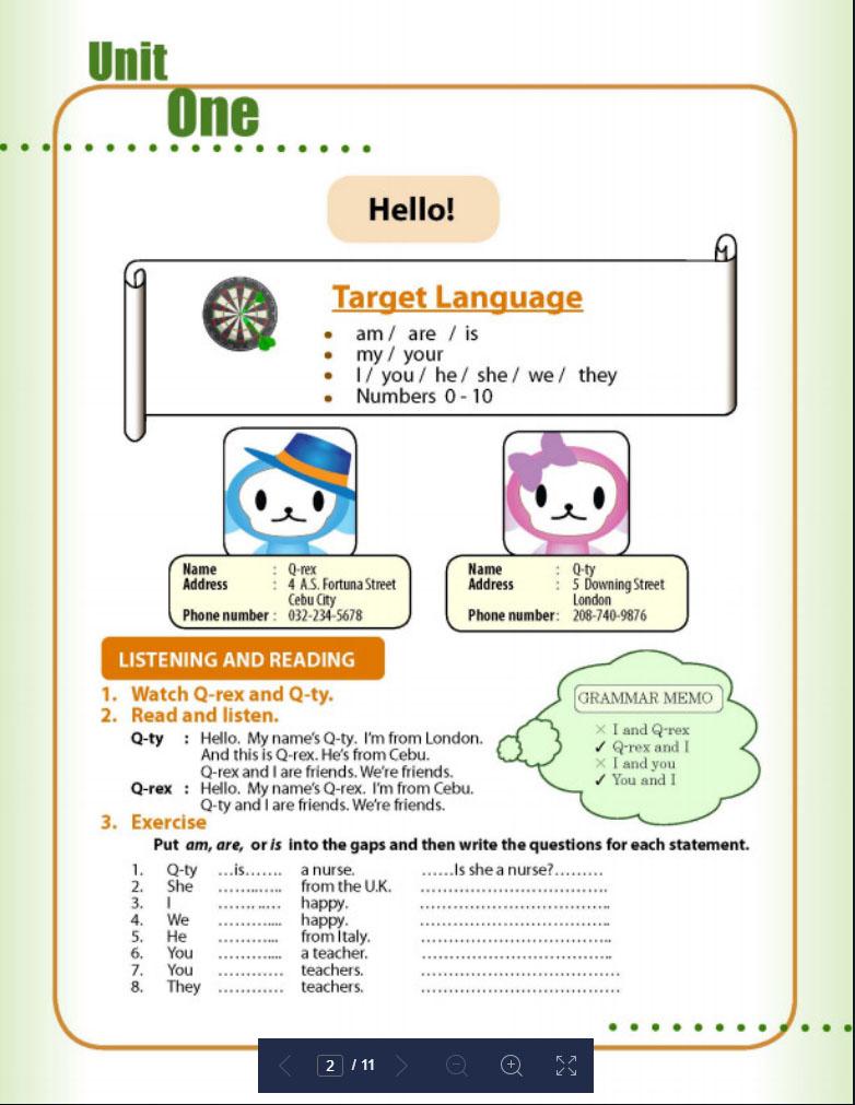 QQ EnglishのQQE basicsの教材の画像