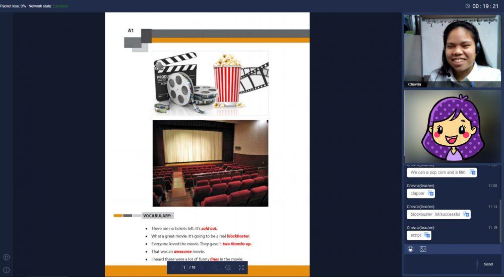 QQ Englishのトピックカンバセーションのレッスン画面の画像